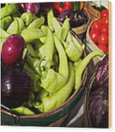 Vegetables Organic Market Wood Print by Julie Palencia
