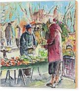 Vegetables Seller In A Provence Market Wood Print