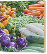 Vegetables Stand In Wet Market Wood Print