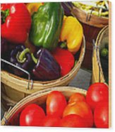 Vegetarian And Organic Farmers Produce Wood Print