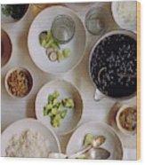 Vegetarian Dishes Wood Print