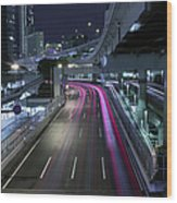 Vehicle Light Trails On National Route 1 Wood Print