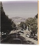 Vehicles On A Busy Road Also Used By The Tram Service Wood Print