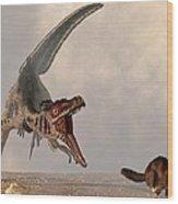 Velociraptor Chasing Small Mammal Wood Print