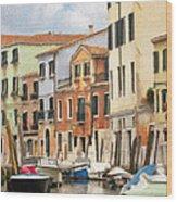 Venetian Apartments Impasto Wood Print