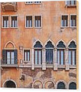 Venetian Building Wall With Windows Architectural Texture Wood Print