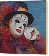 Venetian Carnival - Portrait Of Clown With Mask Wood Print