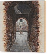 Venetian Courtyard 01 Elena Yakubovich Wood Print