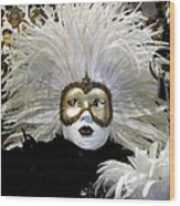 Venetian Golden Carnival Mask Wood Print