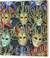 Venetian Opera Masks Wood Print
