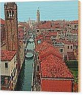 Venetian Street Scene Wood Print