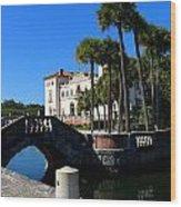 Venetian Style Bridge And Villa In Miami Wood Print