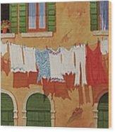 Venetian Washday Wood Print