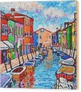 Venezia Colorful Burano Wood Print