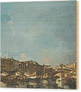 Venice A View Of The Rialto Bridge Looking North From The Fondamenta Del Carbon Wood Print
