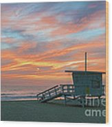 Venice Beach Lifeguard Station Sunset Wood Print