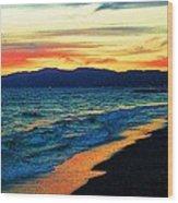 Venice Beach Sunset Wood Print