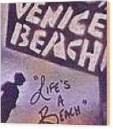 Venice Beach To Santa Monica Pier Wood Print by Tony B Conscious
