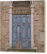 Venice Blue Arched Window Wood Print