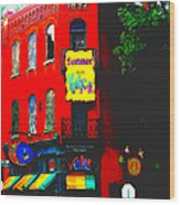 Venice Cafe' Painted And Edited Wood Print