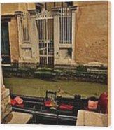 Venice Canal Gondola Awaits Wood Print