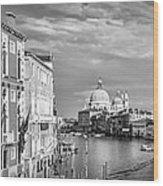 Venice Canal Grande Santa Maria Della Salute Black And White Wood Print
