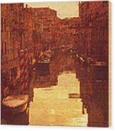 Venice Canal Sunset Wood Print