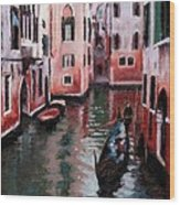Venice Gondola Ride Wood Print by Janet King