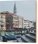 Venice Gondolas On Canal Grande Wood Print