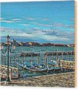 Venice Gondolas On The Grand Canal Wood Print