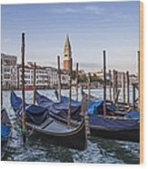 Venice Grand Canal And Goldolas Wood Print