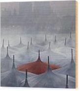 Venice In Rain Wood Print