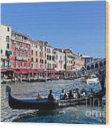 Venice Italy Gondola With Tourists Floats On Grand Canal Wood Print