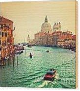 Venice Italy Grand Canal And Basilica Santa Maria Della Salute At Sunset Wood Print