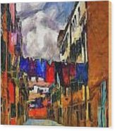Venice Laundry 2 Wood Print by Cary Shapiro