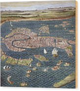 Venice: Map, 16th Century Wood Print