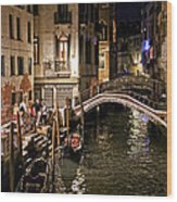 Venice Night By The Canal Wood Print