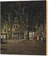 Venice Square At Night Wood Print