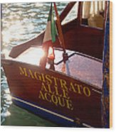 Venice Water Authority Boat Wood Print
