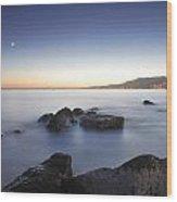Venus And The Moon Over The Mediterranean Sea Wood Print