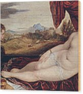 Venus With The Organ Player Wood Print