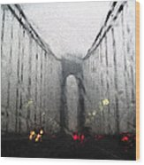 Verazanno Bridge Rain Photofresco Wood Print
