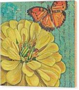 Verdigris Floral 2 Wood Print