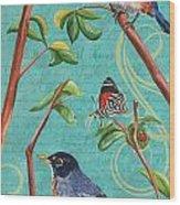 Verdigris Songbirds 1 Wood Print