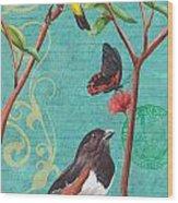 Verdigris Songbirds 2 Wood Print