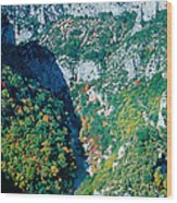 Verdon Gorge In Autumn Wood Print