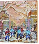 Verdun Back Lane Hockey Practice Montreal Winter City Scen Painting Carole Spandau Wood Print