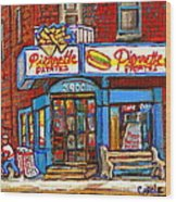 Verdun Famous Restaurant Pierrette Patates - Street Hockey Game At 3900 Rue Verdun - Carole Spandau Wood Print