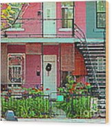 Verdun Flower Boxes Pink House Fenced Front Garden Red Flowers Staircase Scenes Carole Spandau Wood Print