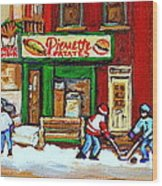 Verdun Hockey Game Corner Landmark Restaurant Depanneur Pierrette Patate Winter Montreal City Scen Wood Print by Carole Spandau